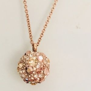FOSSIL GOLD TONE PAVE CRYSTAL DISCO BALL PENDANT